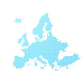 Map of Europe made with round blue dots on a blank background. Original mosaic illustration. Vector Illustration (EPS10, well layered and grouped). Easy to edit, manipulate, resize or colorize. Please do not hesitate to contact me if you have any questions, or need to customise the illustration. http://www.istockphoto.com/portfolio/bgblue
