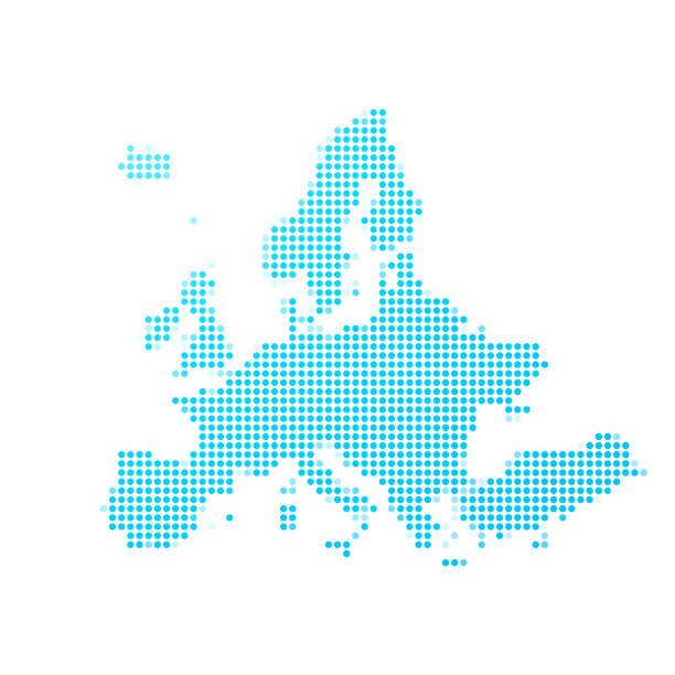 Europakarte der blauen Punkte auf weißem Hintergrund – Vektorgrafik