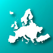 White map of Europe isolated on a trendy color, a blue green background and with a dropshadow. Vector Illustration (EPS10, well layered and grouped). Easy to edit, manipulate, resize or colorize.