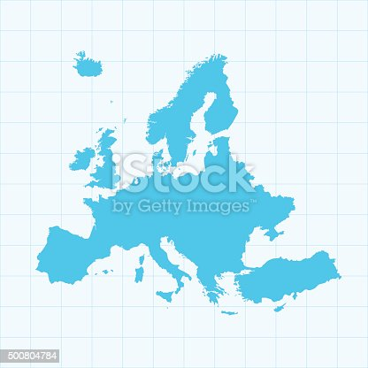 istock Europe map on grid on blue background 500804784