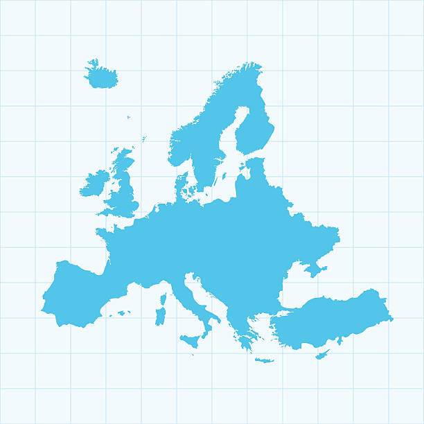 europe map on grid on blue background - avrupa stock illustrations