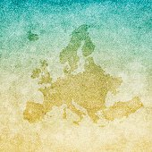Map of Europe isolated on realistic grunge canvas texture.