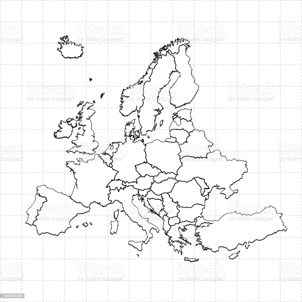 Europe Map On White Grid Dotted Grid Background Stock Vector Art