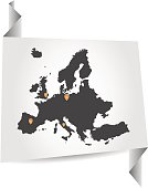 Europe map on white paper with markers