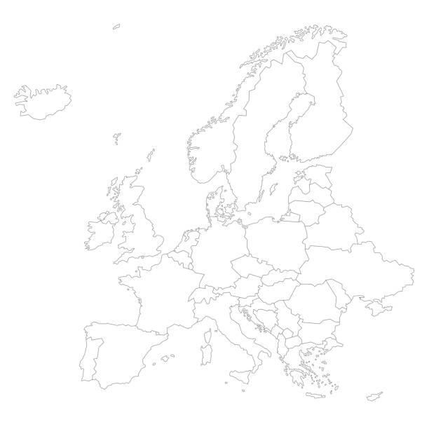 illustrations, cliparts, dessins animés et icônes de carte d'europe / illustration de stock de contour - carte europe