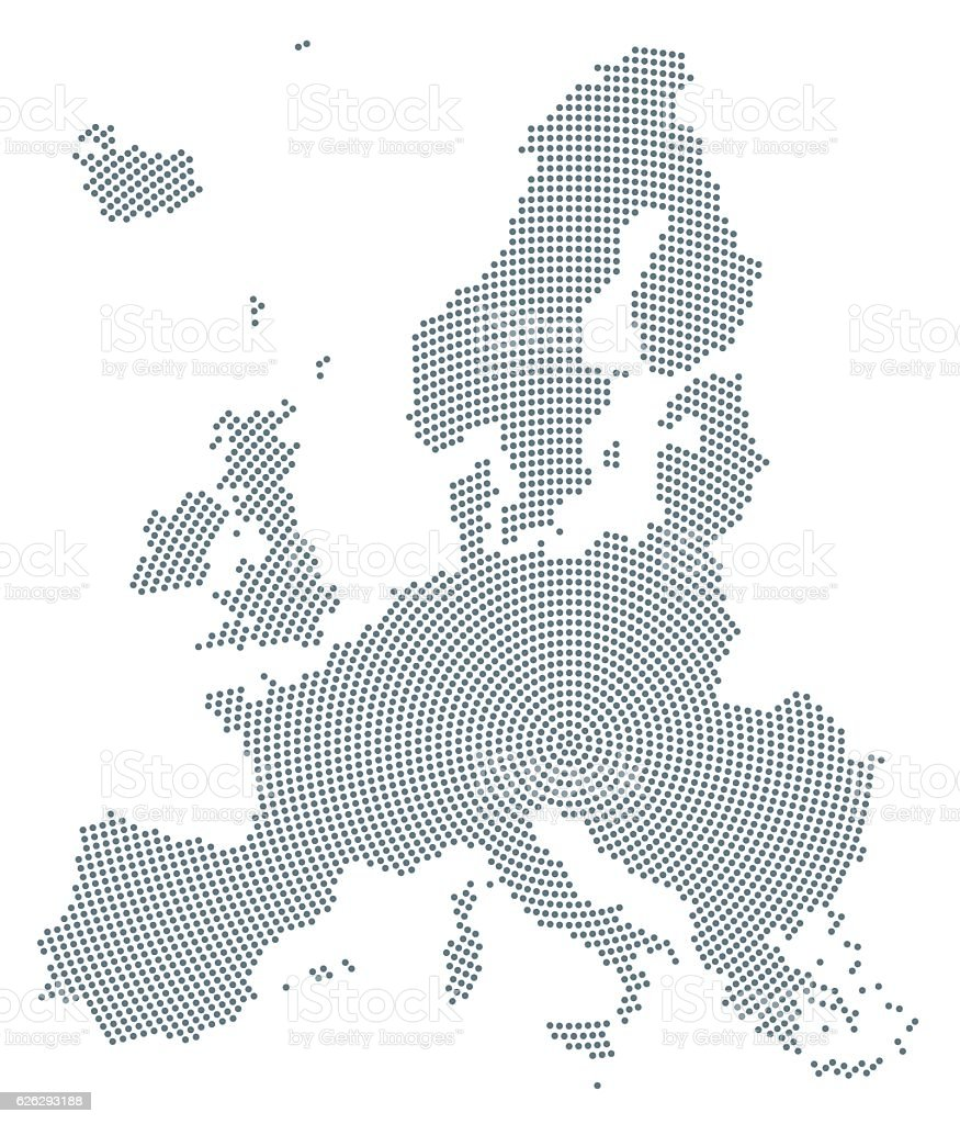 Europe map radial dot pattern gray color vector art illustration