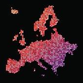 Europe Map Triangle Pattern Orange