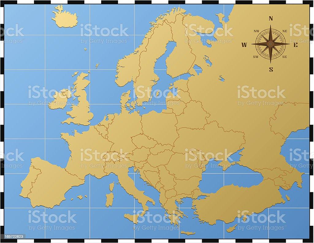 Europe Carte Avec Rose Des Vents – Cliparts vectoriels et plus d