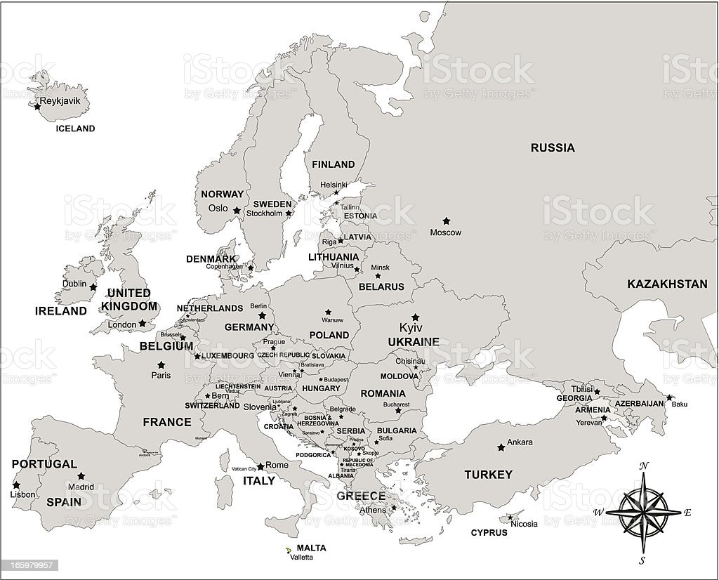 europe map with compass vector art illustration
