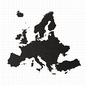 Europe map with countries on grid background