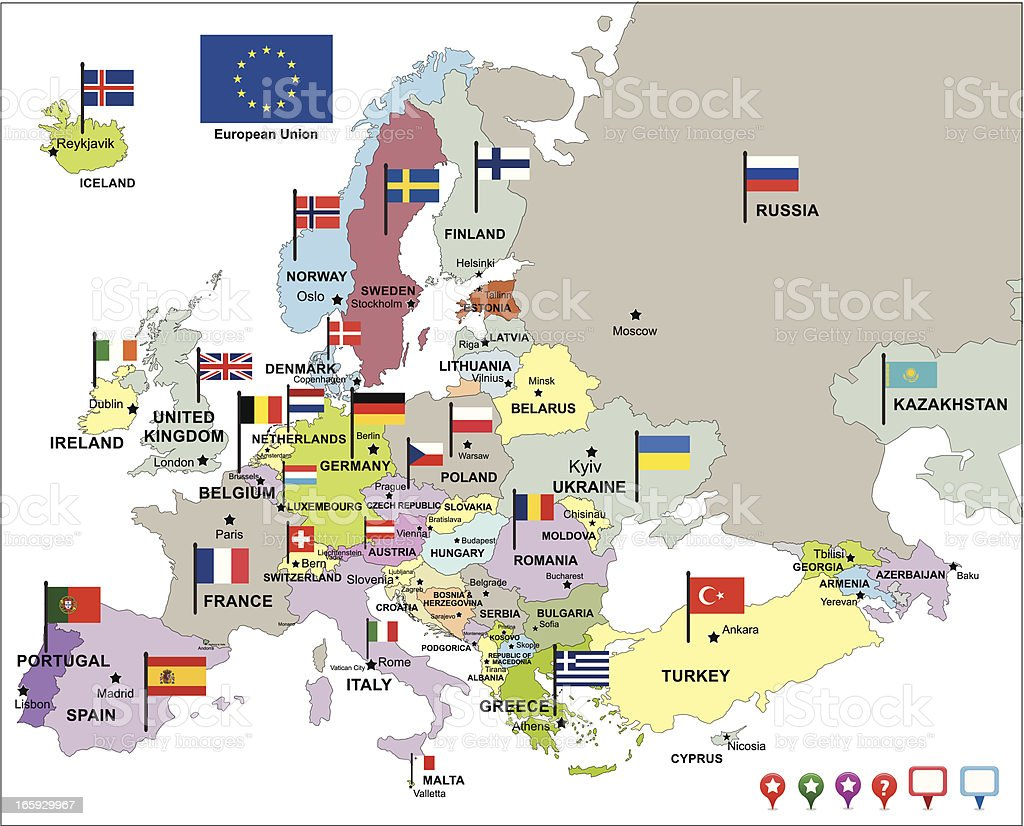 europe map with flags and pin icons vector art illustration
