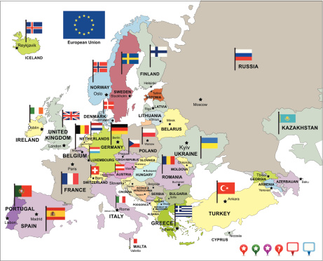 Cartina Europa.Europa Mappa Con Bandiere E Icone Di Pin Immagini Vettoriali Stock E Altre Immagini Di Bandiera Istock