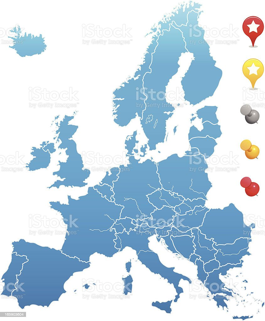 europe map with GPS and pin icons royalty-free stock vector art