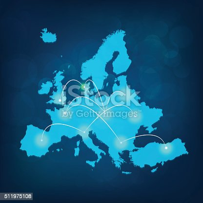 istock Europe map with lights connected on blue background 511975108