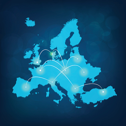 Europe map with lights connected on blue background