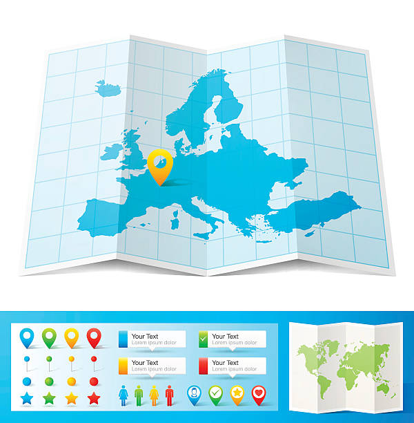 Europe Map with location pins isolated on white Background Map of Europe folded with design elements, isolated on white background. country geographic area stock illustrations