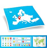 Europe Map with location pins isolated on white Background