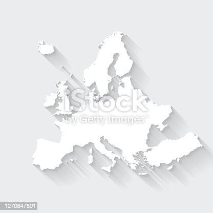istock Europe map with long shadow on blank background - Flat Design 1270847801
