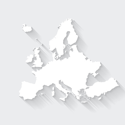 White map of Europe isolated on a gray background with a long shadow effect and in a flat design style. Vector Illustration (EPS10, well layered and grouped). Easy to edit, manipulate, resize or colorize.