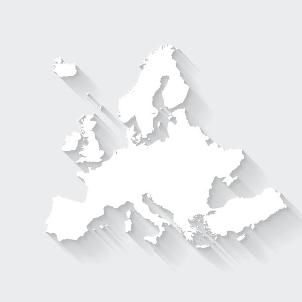 Europe map with long shadow on blank background - Flat Design vector art illustration