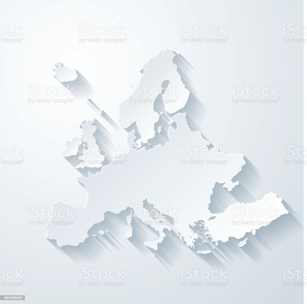 Europe map with paper cut effect on blank background vector art illustration