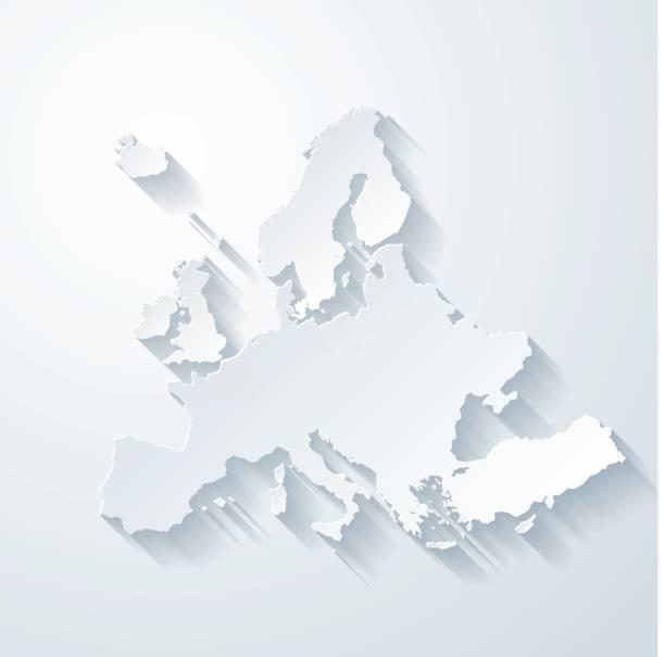 Europakarte mit Papier geschnitten Wirkung auf leeren Hintergrund – Vektorgrafik