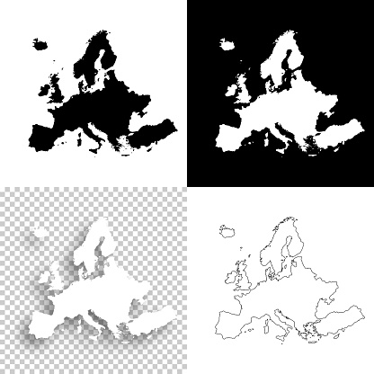 Europe maps for design - Blank, white and black backgrounds