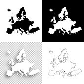 Map of Europe for your own design. With space for your text and your background. Four maps included in the bundle: - One black map on a white background. - One blank map on a black background. - One white map with shadow on a blank background (for easy change background or texture). - One blank map with only a thin black outline (in a line art style). The layers are named to facilitate your customization. Vector Illustration (EPS10, well layered and grouped). Easy to edit, manipulate, resize or colorize. Please do not hesitate to contact me if you have any questions, or need to customise the illustration. http://www.istockphoto.com/portfolio/bgblue