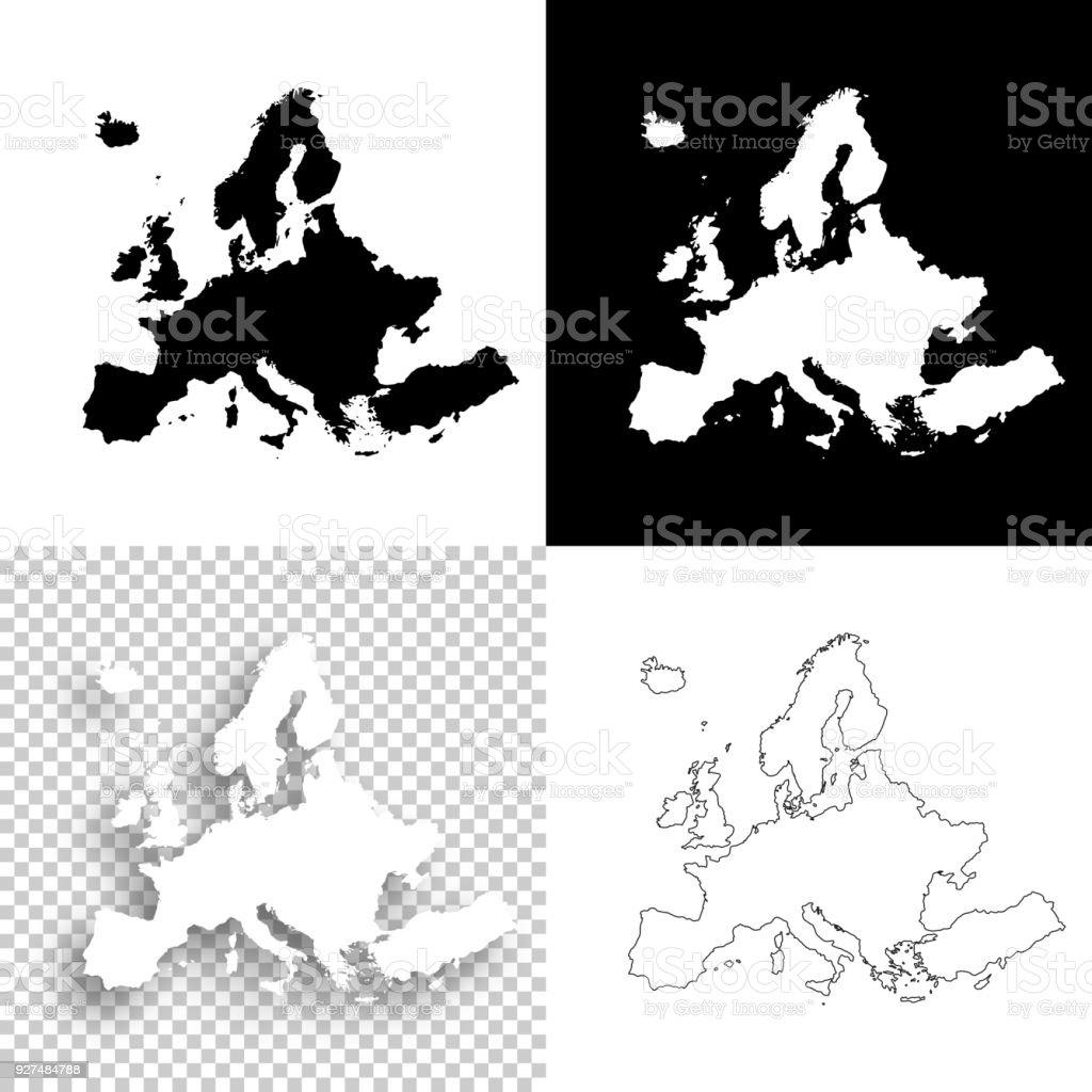 Europe maps for design - Blank, white and black backgrounds vector art illustration