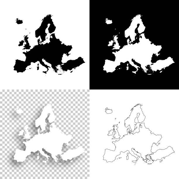 Europa-Karten für Design - leere, weiße und schwarze Hintergründe – Vektorgrafik