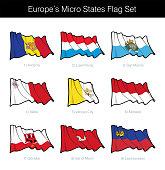 Europe Micro States Waving Flag Set