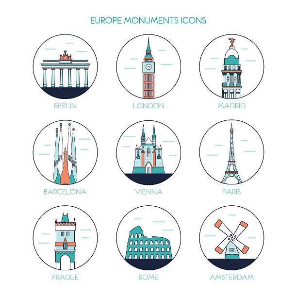 bildbanksillustrationer, clip art samt tecknat material och ikoner med europe monuments icons  skyline. vector line illustration. line style design - berlin city