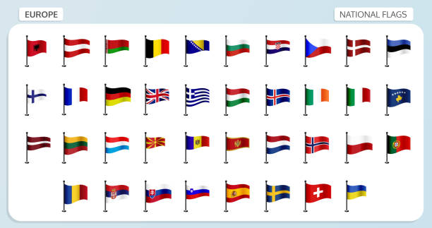 nationalflaggen europa - iceland stock-grafiken, -clipart, -cartoons und -symbole