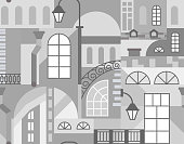 Europe old town. Geometric art mosaic with buildings elements. Seamless pattern. Vector illustration