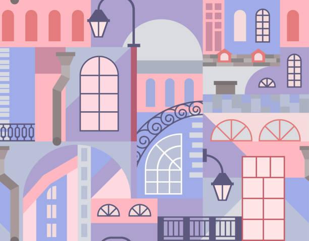 ilustrações de stock, clip art, desenhos animados e ícones de europe old town. geometric art mosaic with buildings elements. seamless pattern. - berlin wall