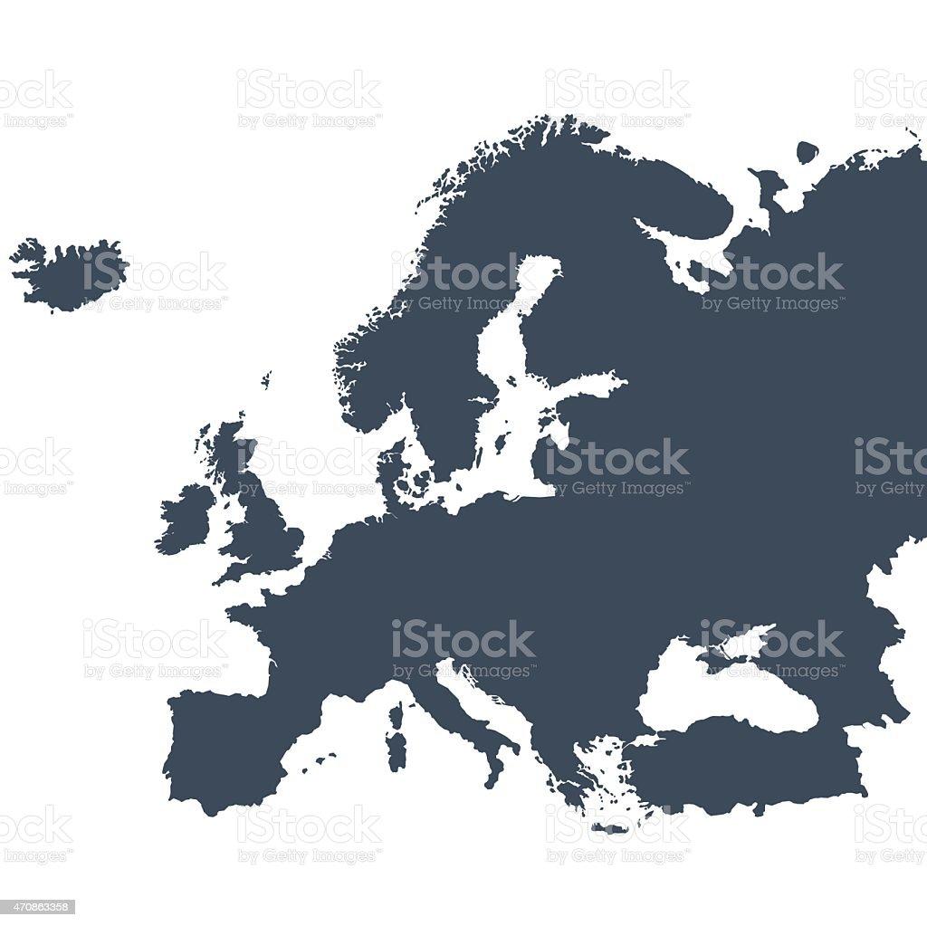 Europe outline map vector art illustration