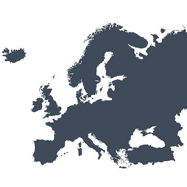 Europe outline map A graphic illustrated vector image showing the outline of the Europe. The outline of the country is filled with a dark navy blue colour and is on a plain white background. The border of the country is a detailed path.  european culture stock illustrations