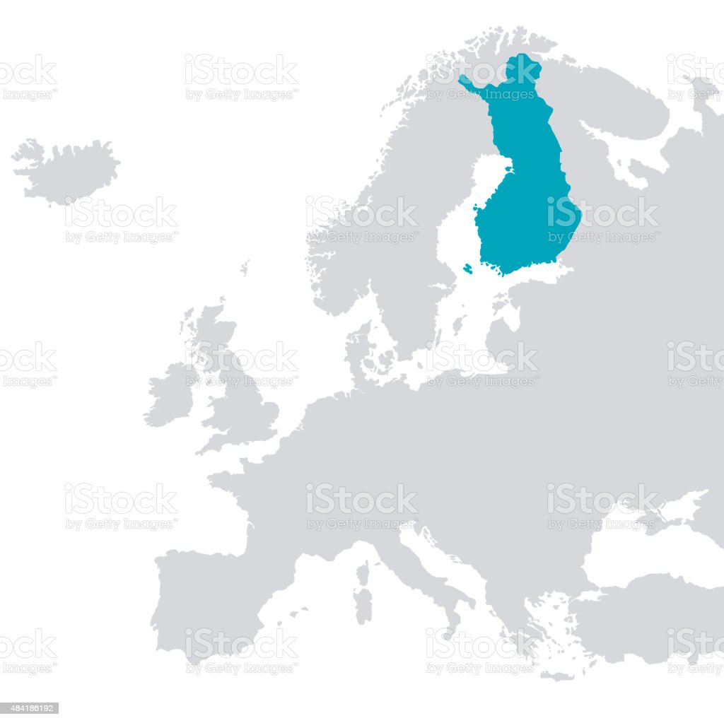 Europe Outline Map With Finland Coloured Blue Stock ...