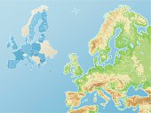 Reduced topography and political map of the European Union EU