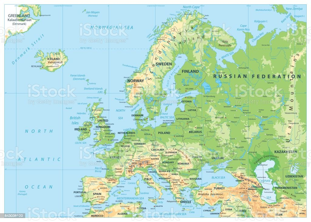 Europe Physical Map No Bathymetry Stock Vector Art More Images Of