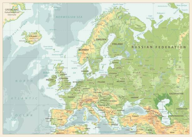 Royalty free norway road clip art vector images illustrations europe physical map retro colors vector art illustration publicscrutiny Choice Image