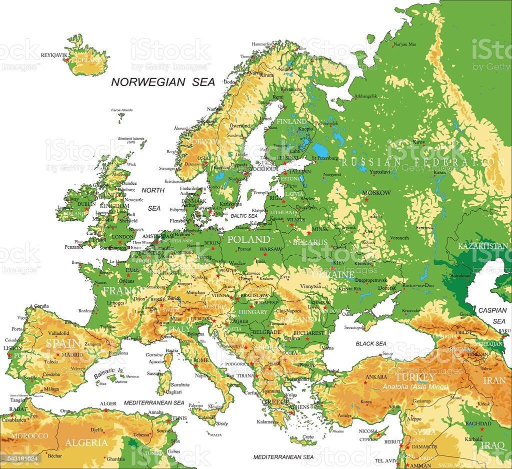 Europa Karte Physisch.Physische Europakarte Stock Vektor Art Und Mehr Bilder Von Afrika