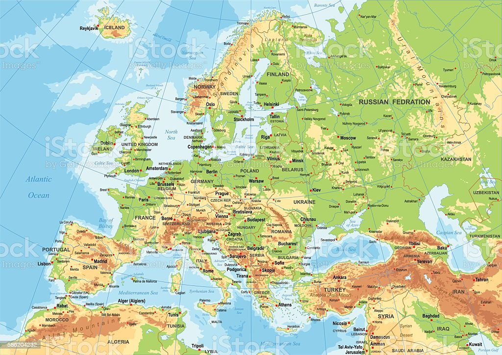 Europe - Physical Map - Illustration vectorielle