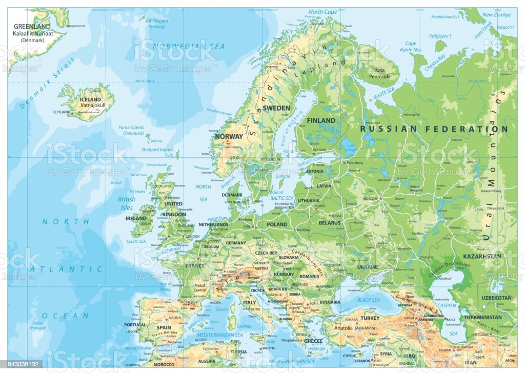 Europe Physical Map vector art illustration
