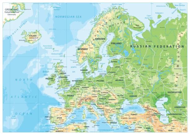 illustrations, cliparts, dessins animés et icônes de carte physique de l'europe - suede