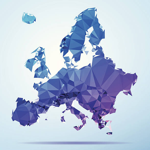 Europe Polygon Triangle Map Blue Abstract Polygon Triangle vector map of Europe. File was created in DMesh Pro and Adobe Illustrator on May 15, 2014. The colors in the .eps-file are in RGB. Transparencies used. Included files are EPS (v10) and Hi-Res JPG (5035 x 5035 px). map crystal stock illustrations