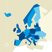 Vector illustration. Europe restricted map. Only poligons in blue tones.