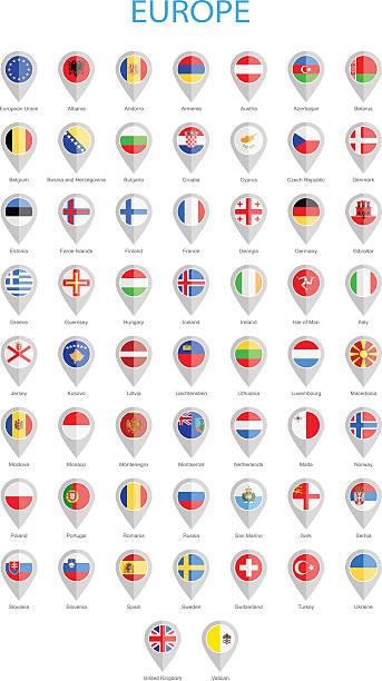 欧州型フラッグピン-イラストレーション - イギリスの国旗点のイラスト素材/クリップアート素材/マンガ素材/アイコン素材