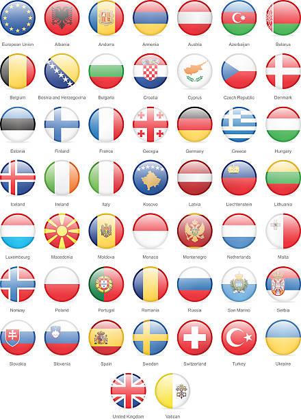 Europa-runde Flaggen-Grafik – Vektorgrafik