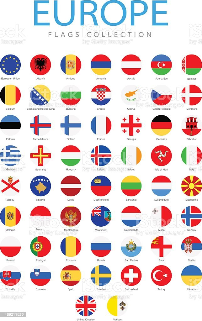 Europe - Rounded Flags - Illustration vector art illustration